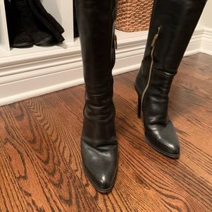 Pucci black tall leather dress boots